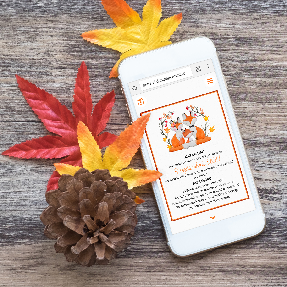 Invitatie Electronica Autumn Fox Papermint